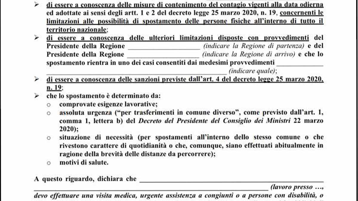 autocertificazione covid-19